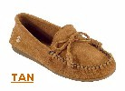 Women's Classic Peace Moc with lightweight rubber sole and fully padded insole. Made with soft, supple suede. Indoor/outdoor use. Colors: black, blue, chocolate, poppy, tan