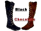 Women's Peace-Mocs Knee-Hi Western Boots, with lightweight crepe outsole, Front lace adjustable, Inside Zipper, and padded insole - Colors: black suede, chocolate suede, brown suede, and tan suede - Sizes: women's 6-10 (full sizes only),