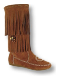 Women's Knee-Hi Prairie Boots, with lightweight rubber outsole and padded insole,  Fully covered with two layers of fringe. Inside Zipper for easy put-on and comfort. Made with soft, strong and supple suede. Street and outdoor-adventure use - Color: brown suede - Sizes: women's 6-11 (full sizes only),