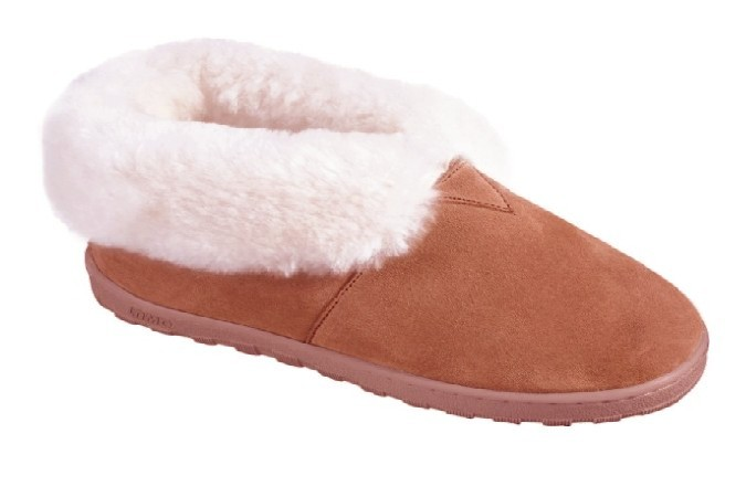 Women's Sheepskin Moccasins - Ankle-Hi Slipper-Shoe-Booties - sierra indoor/outdoor sole, golden tan and ivory sheepskin; sizes: 5-11 (full sizes only)