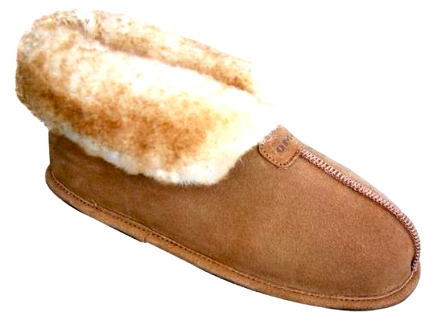 Men's Sheepskin Moccasins - Ankle-Hi Slipper-Shoe-Booties - Leather outsole for confortable indoor use, golden tan and ivory sheepskin; sizes: 7-13 and 14X (full sizes only)