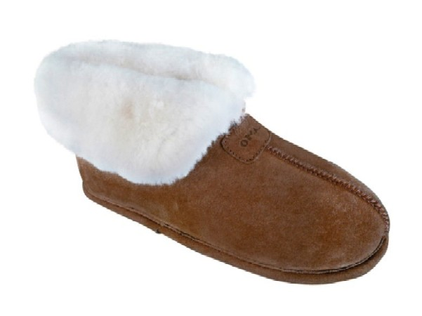 Women's Sheepskin Moccasins - Ankle-Hi Slipper-Shoe-Booties - Leather outsole for confortable indoor use, golden tan and ivory sheepskin; sizes: 5-11 (full sizes only)