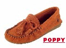 Women's Classic Peace Moc with lightweight rubber sole and fully padded insole. Made with soft, supple suede. Indoor/outdoor use. Colors: black, blue, chocolate, poppy-red, tan